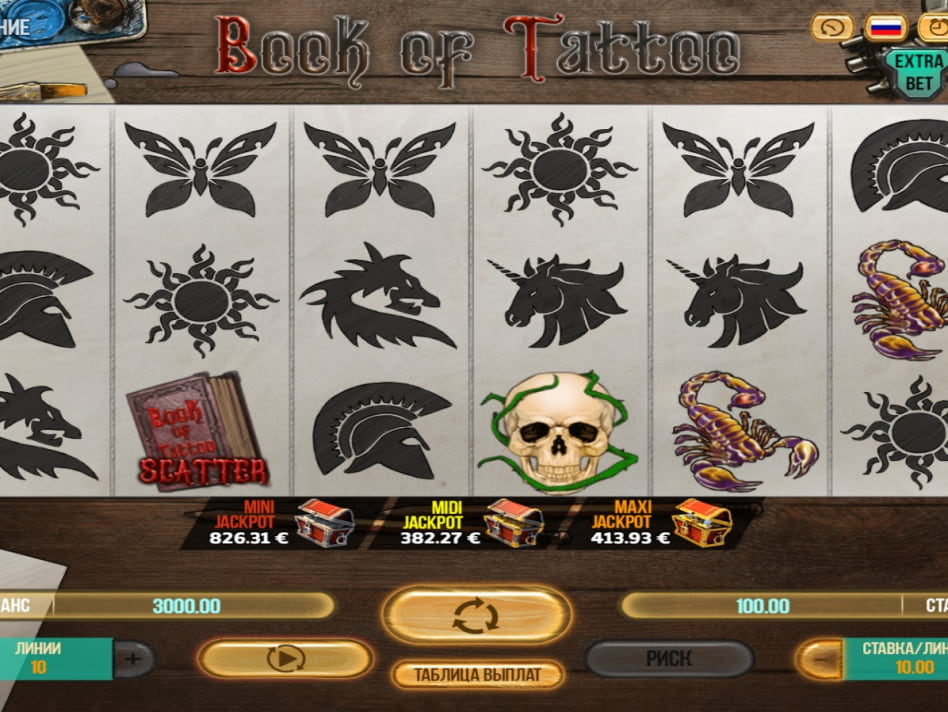Игровые автоматы «Book Of Tattoo» в Вулкан казино