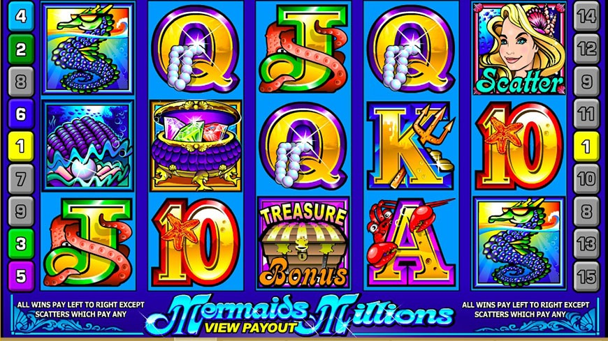Подводные сокровища слота «Mermaids Millions» в казино Вулкан