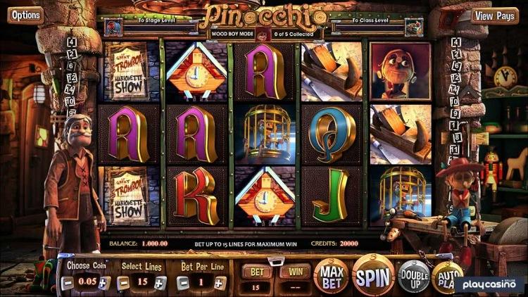 Промокоды казино и игровые автоматы «Pinocchio»