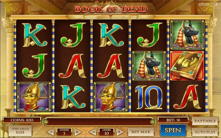 Игровой автомат «Book of Dead» в казино Вулкан