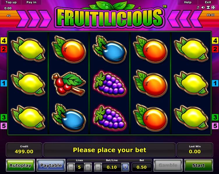 Игровой автомат «Fruitilicious» в казино Франк