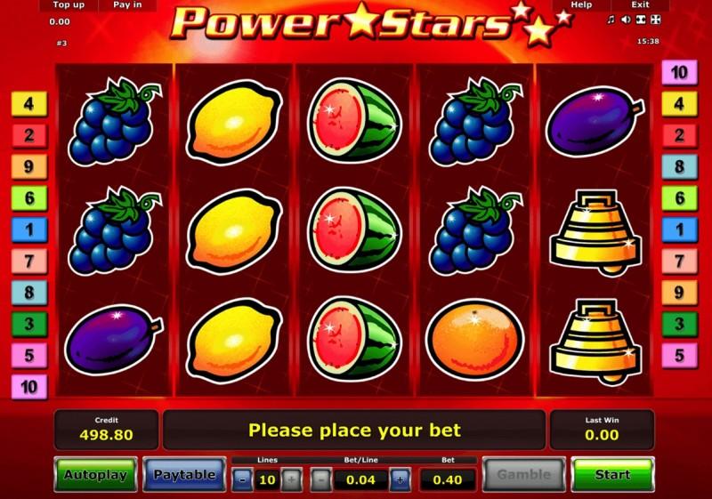 Фруктовые автоматы «Power Stars» в казино Чемпион