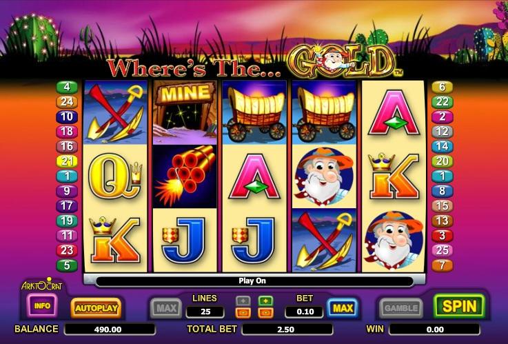 Ищем золото со слотом «Where's the Gold» от казино Вулкан1