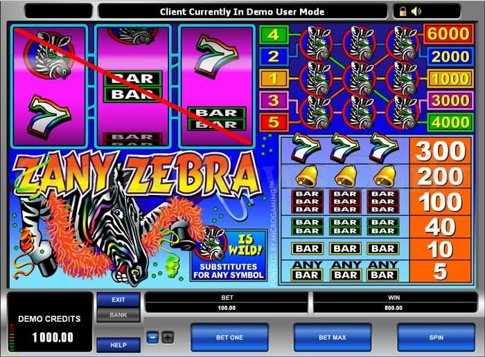 Азартные автоматы «Zany Zebra» в казино Фараон