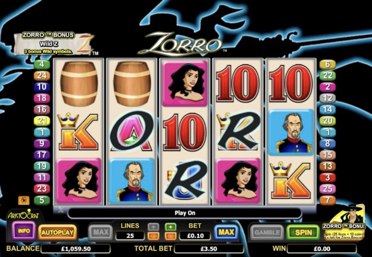 Бонус Вулкан и регистрация для игры на слота «Zorro»